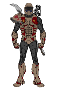 Fully armored modern Za'akis warrior. Combat armor can resist most modern small arm fire is a direct descendant of the one used by the Delaztri peacekeepers. This warrior has a shoulder-mounted pulse weapon and carries an electrified pole-blade.